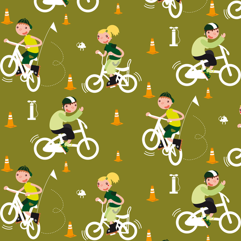Circle my bike boy fabric by verycherry on Spoonflower - custom fabric
