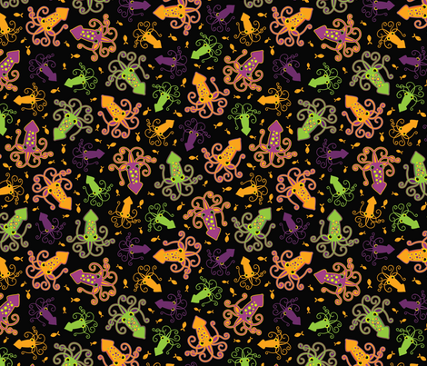 Squid Attack! scatter print (neon colorway) fabric by jennartdesigns on Spoonflower - custom fabric