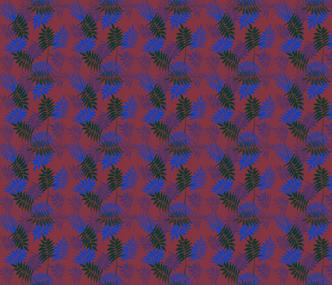 Kobalt leaves fabric by dervishheart on Spoonflower - custom fabric