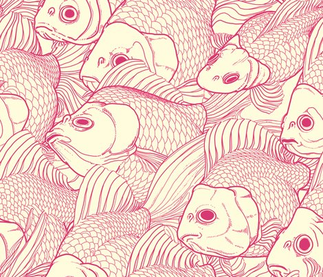 Ryukin pink large fabric bonsaimechagirl spoonflower for Fish pattern fabric