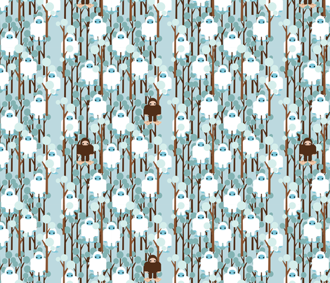 LOST IN YETI FOREST SMALL fabric by thirdhalfstudios on Spoonflower - custom fabric