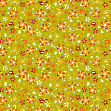 Happy little ditsy green fabric by cjldesigns on Spoonflower - custom fabric
