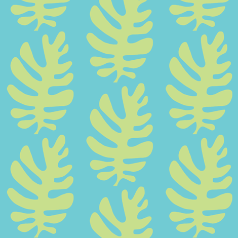 Funky Leaf (lime & deep aqua) fabric by pattyryboltdesigns on Spoonflower - custom fabric