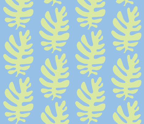 Funky Leaf  (light lime & sky blue) fabric by pattyryboltdesigns on Spoonflower - custom fabric