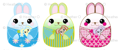 Bunny Pillows - green, blue, and pink