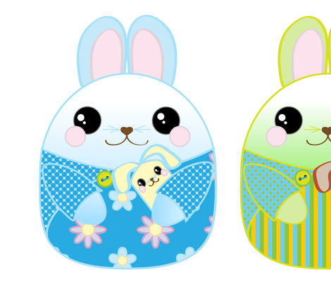 Bunny Pillows - green, blue, and pink fabric by bbsforbabies on Spoonflower - custom fabric