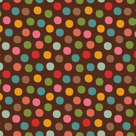 Candy_dots-brown fabric by hoodiecrescent&stars on Spoonflower - custom fabric