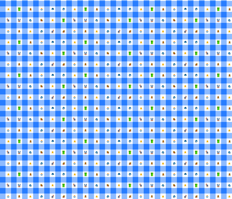 Blue Marios 1/2 inch gingham fabric by retropopsugar on Spoonflower - custom fabric