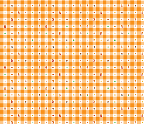 Orange Marios 1/2 inch gingham fabric by retropopsugar on Spoonflower - custom fabric
