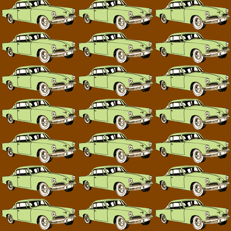 Green 1953 Studebaker Starliner on cocoa background (straight rows) fabric by edsel2084 on Spoonflower - custom fabric
