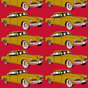 golden 1953 Studebaker on red background-ch-ch