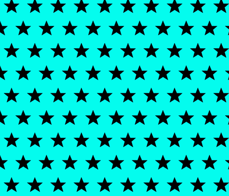 star aqua black fabric by katarina on Spoonflower - custom fabric