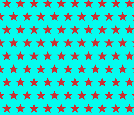 star aqua red fabric by katarina on Spoonflower - custom fabric
