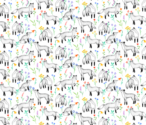 Fox Floral fabric by siankeegan on Spoonflower - custom fabric