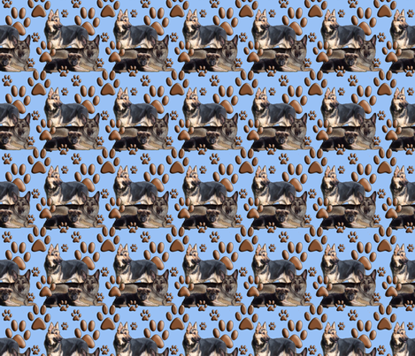 German shepherd family in blue fabric by dogdaze_ on Spoonflower - custom fabric