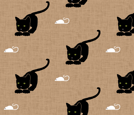 cat_and_mouse_textured_150 fabric by victorialasher on Spoonflower - custom fabric
