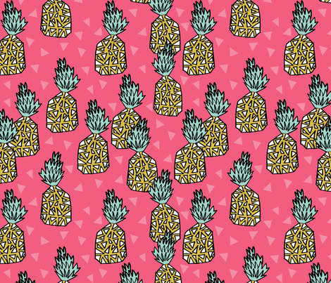 pineapple // sweet tropical exotic hawaii summer pink tropical fruits fabric by andrea_lauren on Spoonflower - custom fabric