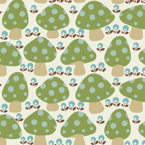 Dottie_mushrooms_Green fabric by hoodiecrescent&stars on Spoonflower - custom fabric