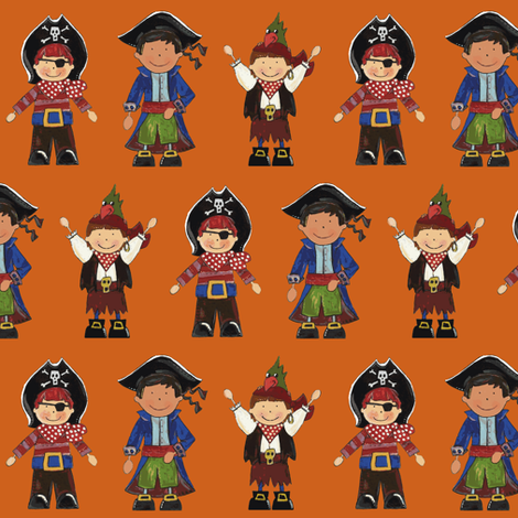 scrummy pirates orange fabric by scrummy on Spoonflower - custom fabric