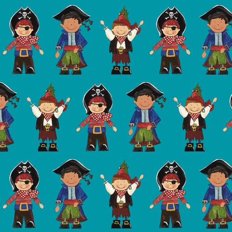 scrummy pirates blue fabric by scrummy on Spoonflower - custom fabric