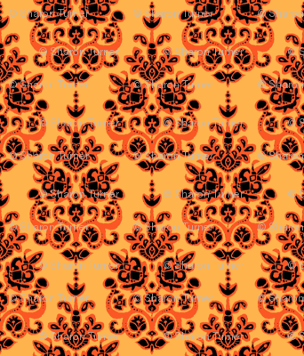 Halloween gold damask ikat