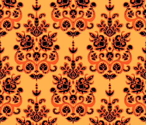 Halloween gold damask ikat fabric by scrummy on Spoonflower - custom fabric