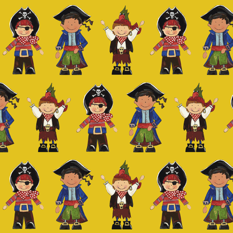 scrummy pirates yellow fabric by scrummy on Spoonflower - custom fabric