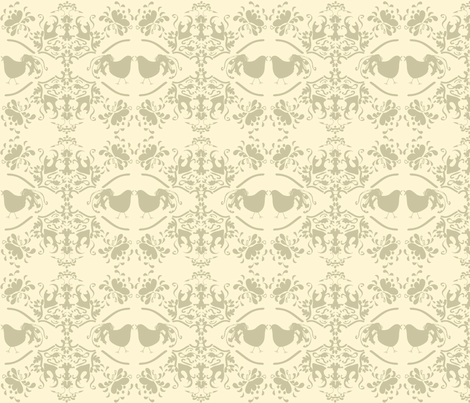 Chick_Chick_Beige_Damask_Small fabric by ©_lana_gordon_rast_ on Spoonflower - custom fabric