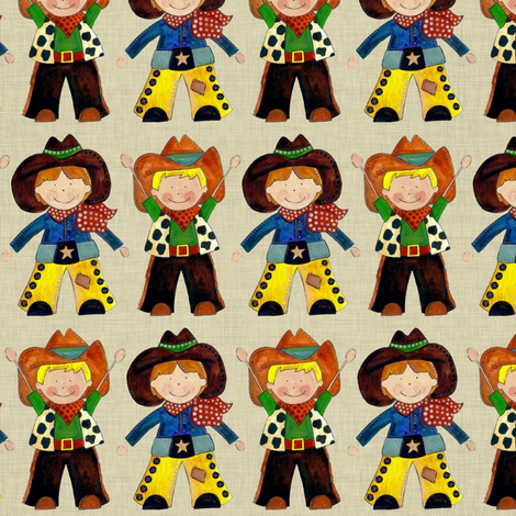 little cowboys natural straw fabric by scrummy on Spoonflower - custom fabric
