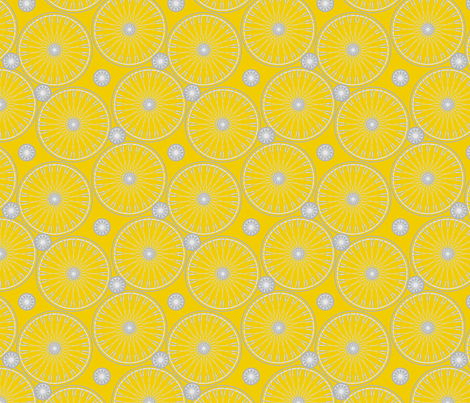 bicycle wheels and gears - meyers lemon fabric by glimmericks on Spoonflower - custom fabric