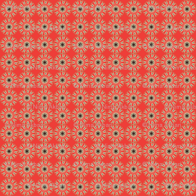 Circle Pattern (Red, Beige and Black)