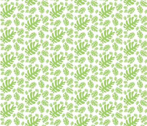 Funky Tropical Leaf Pattern! (green & white) fabric by pattyryboltdesigns on Spoonflower - custom fabric