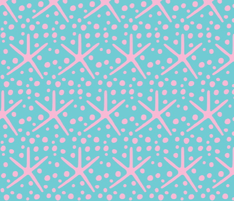 Spotty Dotty Starfish (pink & deep aqua sea) fabric by pattyryboltdesigns on Spoonflower - custom fabric