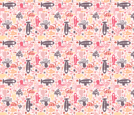 'I see creatures' - Pink fabric by mondaland on Spoonflower - custom fabric