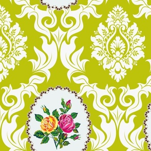 Bird Damask  (Avocado green)