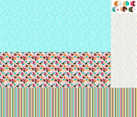 Cupcakes and Swirls Collection - 1st Birthday Pinafore - Pink and Blue by JoyfulRose fabric by joyfulrose on Spoonflower - custom fabric