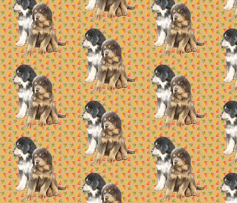Tibetan Mastiff Puppies  fabric by dogdaze_ on Spoonflower - custom fabric