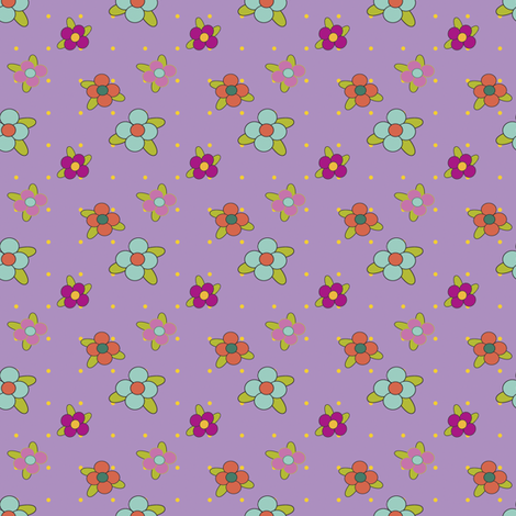 Damask_Flowers_on_Purple fabric by ©_lana_gordon_rast_ on Spoonflower - custom fabric