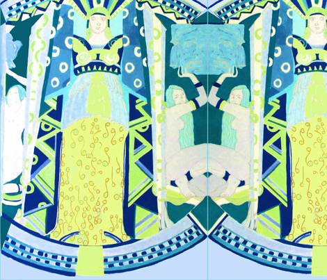 Deco Mythology - Blue fabric by bettinablue_designs on Spoonflower - custom fabric