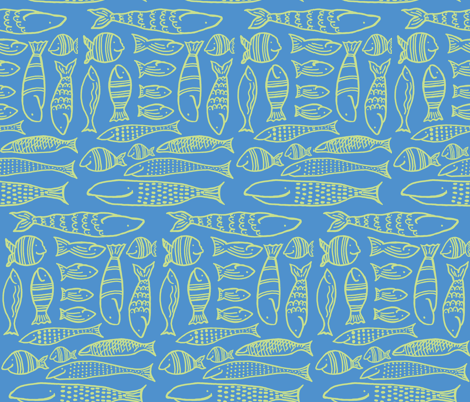 Funky Fish (deep blue sea & lime) fabric by pattyryboltdesigns on Spoonflower - custom fabric