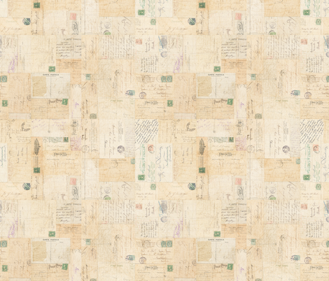 Antique Vintage Postcards Collage fabric by jodielee on Spoonflower - custom fabric
