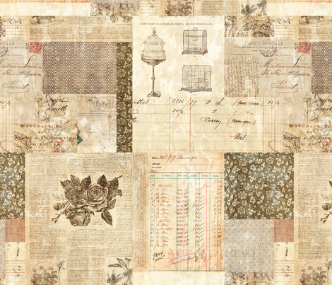 Vintage Book Collage fabric by jodielee on Spoonflower - custom fabric