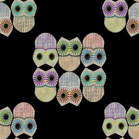 embroideredowlsblack fabric by suziwollman on Spoonflower - custom fabric