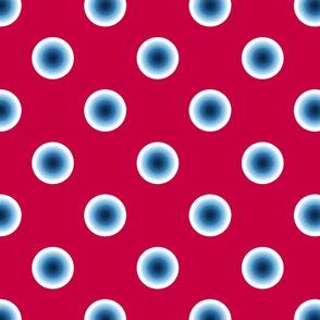 pois bleu fond rouge