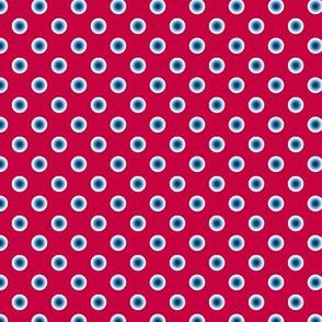 pois bleu fond rouge S