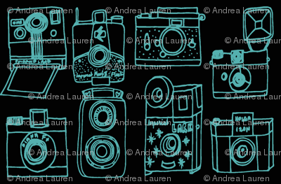 Vintage Cameras - Black/Tiffany Blue