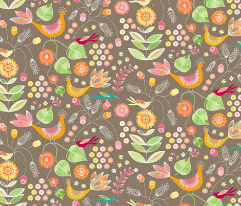 The Pheasant Garden fabric by kayajoy on Spoonflower - custom fabric