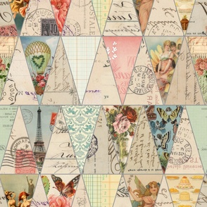 Vintage French Banner Collage