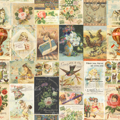 Antique Vintage Tradecard Collage