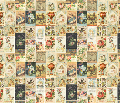 Antique Vintage Tradecard Collage fabric by jodielee on Spoonflower - custom fabric